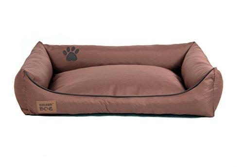 Golden Dog Hundebett Hundesofa Hundekissen Abnehmbarer Bezug Pflegeleicht abwaschbar Hellbraun XXL 120x90cm