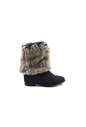 CHIC NANA . Chaussure femme bottine style nubuck compensées intérieur fourrure synthétique amovible.