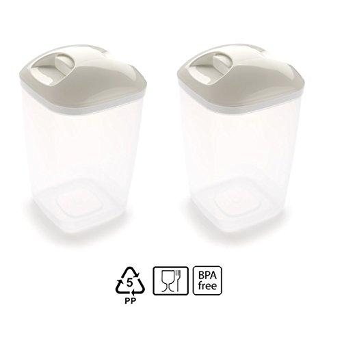 Set de 2 Coupelles hermeticos carrés avec couvercle Blanc de 1,2 litres - BPA Free.