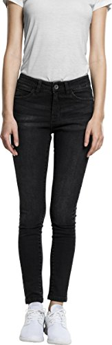 Urban Classics Damen Jeans Ladies Skinny Denim Pants Schwarz (Black Washed 709)