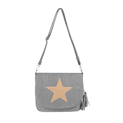 OBC ital-design Damen Stern Tasche Messenger Bag Handtasche Shopper Henkeltasche Glitzer Clutch Beuteltasche Schultertasche Umhängetasche (Hellgrau-Beige) Hellgrau-Beige