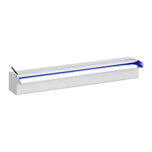 Uniprodo Uni_Water_10 Schwalldusche Pool Edelstahl 60 cm Schwallbrause mit LED-Beleuchtung Wasserfall Wasserschwall Edelstahllegierung
