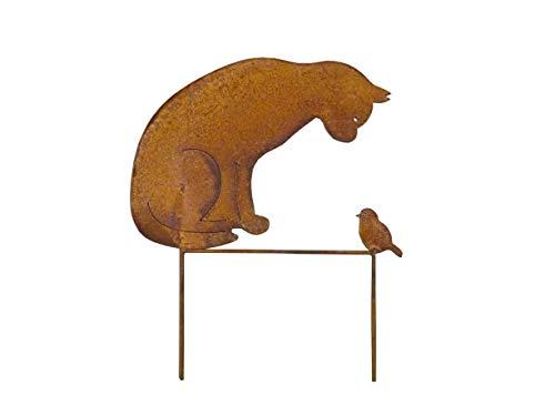 Gartenstecker Katze + Vogel 50cm Höhe Metall Rost Gartendeko Edelrost