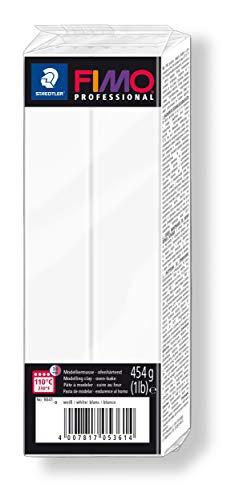 Rayher 34448102 Pasta modellabile termoindurente Fimo Professional, Panetto grande da 454g, colore Bianca