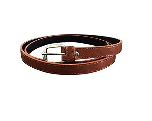 Krystle Girl Belt / Womens Belt Solid Brown Color Bonded Leather 1 inch Dress Belt