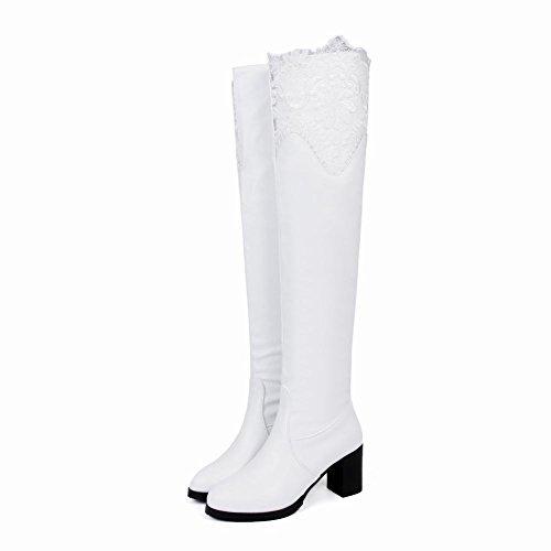MissSaSa Donna Scarpe col Tacco Alto Elegante e Affascinante Boots Bianco