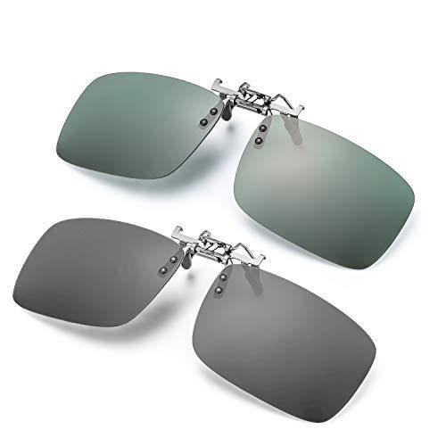 ELIVWR 2-Stück, Herren Rectangle Sonnenbrillen-Clip Polarisierte für Brillenträger Autofahren für Brillenträger 100% Schutz vor Schädlichen UVA/UVB Strahlen(Grau+Grün, 59 * 41)