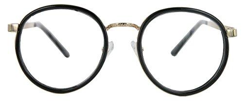 Classic Nerdbrille filigrane Pantobrille Retro Hornbrille mit Metallbügel (Schwarz)
