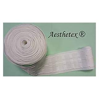 Aesthetex Curtain Header Tape 3 Inch 75mm Pencil Pleat, Woven Pocket (20 Metre)