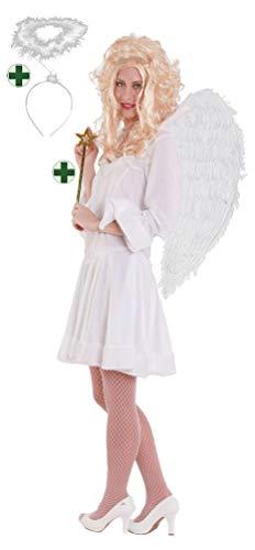 Karneval-Klamotten Engel Kostüm Damen sexy kurz weiß Karneval Engelskostüm Damenkostüm Kleid inkl. Engel-Stab Größe ()