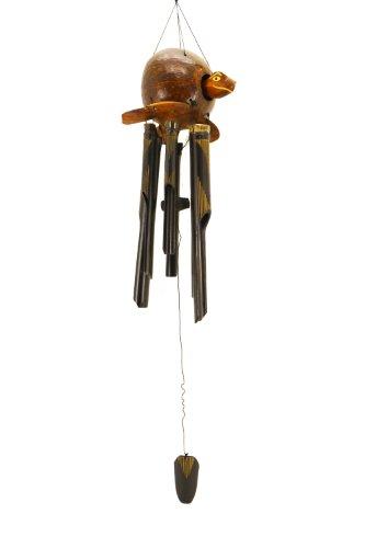 Premium 80cm Windspiel Holz Feng Shui Klangspiel Geschnitzt Kokosnuss Schildkröte Geschnitzt Guter Klang W20