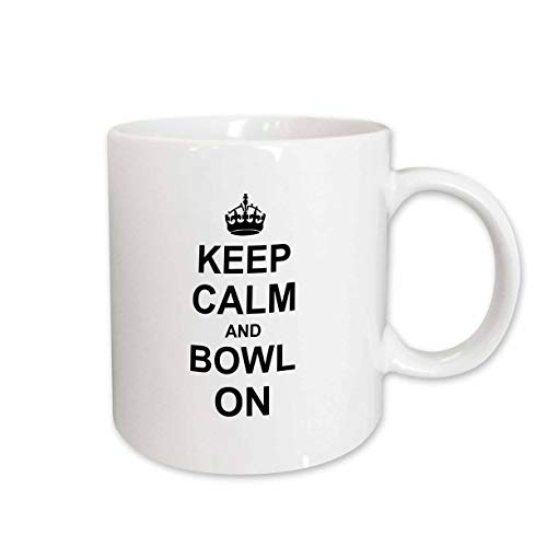 Mensuk Keep Calm and Bowl on - carry on bowling - gift for bowlers - black white fun funny humor humorous - Two Tone Black Mug, 11oz (mug_157693_4), 11 oz, Black/White -