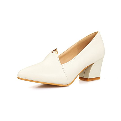 balamasa Mesdames kitten-heels massif imitation cuir pumps-shoes Blanc