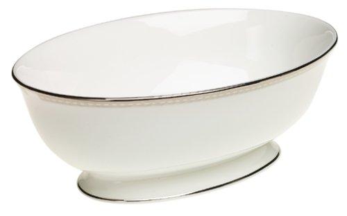Lenox Murray Hill Tafelservice aus Porzellan, platiniert, 5-teilig Gemüseschüssel 9.5-in. Ivory and platinum Lenox China Open Vegetable Bowl