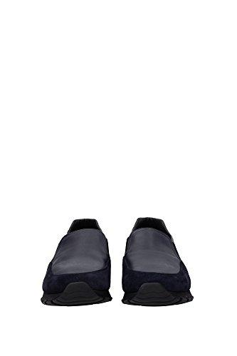 4D3013BLEU Prada Pantoufle Homme Chamois Bleu Bleu