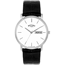 Rotary Men's Quartz Watch with Silver Dial Analogue Display and Black Leather Strap GS02622/06/DD