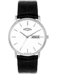 Rotary GS02622/06/DD - Reloj analógico de cuarzo para hombre con correa de piel, color negro