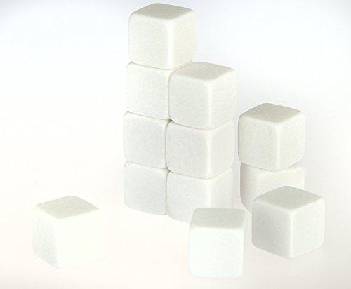 KOBERT GOODS - 12 Whisky-Steine in Farbe Weiß Eckig - wiederverwendbare Kühlsteine aus echtem Speckstein od. gebürstetem Edelstahl - Eiswürfelersatz (eckig/ oval) für perfekte Kühlung ohne Verwässerung - mit Stoffbeutel