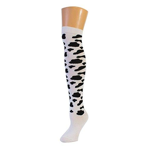 Ladies Cow Over The Knee Socks - White-Black