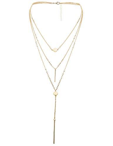 Milacolato 1-2Pcs Womens Layered Choker Halskette Anhänger für Mädchen Multilayer Chain Choker Stick Halskette Gold Silber Ton - Silber-gold-ton