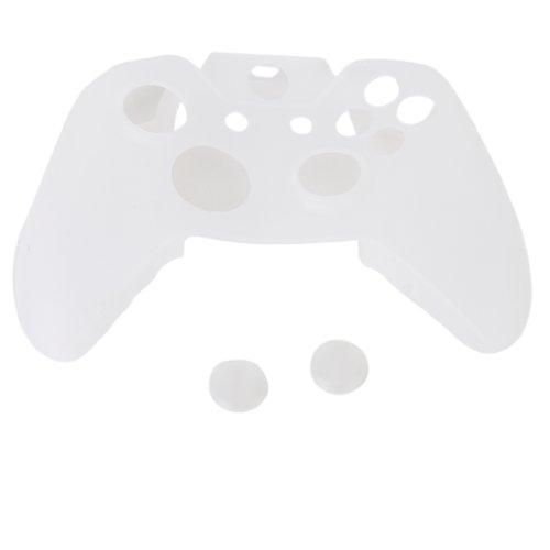 Silikon Weiss Schutzhuelle Case Cover Etui fuer XBOX 360 Controller (Xbox 360 E Fall-haut)