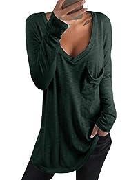 kenoce Tshirt Damen Langarm Tunika Pullover V-Ausschnitt Asymmetrischer Oberteile Shirt Langarmshirt Casual Sexy Sweatshirt