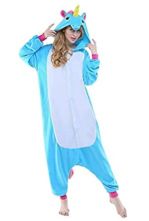 Adulte Flanelle Pyjama Licorne Kigurumi Combinaison Animaux Unicorn, Bleu Unicorn, S fit for Height 145-155CM (57 inches-61 inches)
