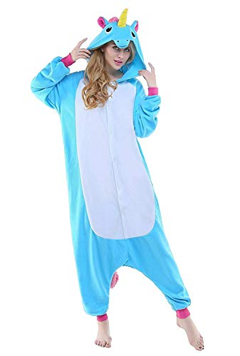 Unisexe Onesie Licorne Animal Costume Pajamas Outfit Nuit Animation Vêtements, Bleu Unicorn, M fit for Height 155-165CM (61inch-65inch)