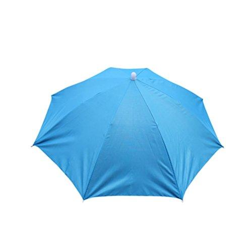 Faltbar Neuheit Regenschirm Rosenie Sonnenschirm Outdoor Camping Golf Angeln Camping Kostüm Multicolor Printed Umbrella Hut Kopfbedeckung Kappe Kopf Hut Regenschirm Hut für Damen Herren (Himmelblau)