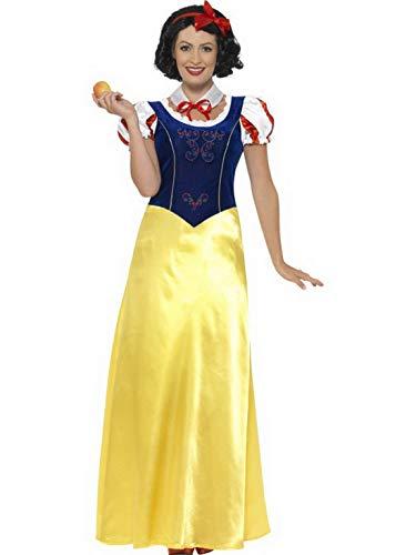 Frauen Märchen Prinzessinen Kostüm, Kleid mit Kopfschmuck und Kragen, perfekt für Karneval, Fasching und Fastnacht, S, Gelb ()