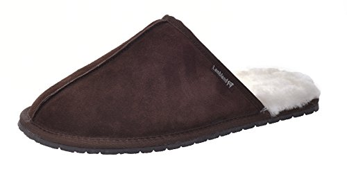 Herren/Herren Echtes Full Lammfell Slipper Pantoletten mit robuster Sohle/Chesnut, Braun, Grau Braun