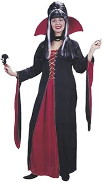 Just For Fun Victorian Vampiress Fancy Dress Costume (Adult Size 16-24) - Black/Red