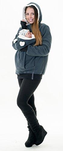 Divita Gefütterte Fleece Tragejacke für Tragetuch Bauchtrage Winter Eisbär D28f (Graphit) - 4