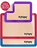 Kitzini Silicone Baking Mat Set (3) 2 Half Sheets + 1 Qtr Sheet - Professional Grade Non Stick Cookie Sheet