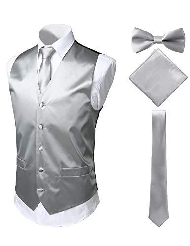 PIZOFF Herren Premium Regulär Smoking Wedding Krawatte & Fliege und Einstecktuch Anzug Weste Set aus leuchtendem hochglänzendem Satin