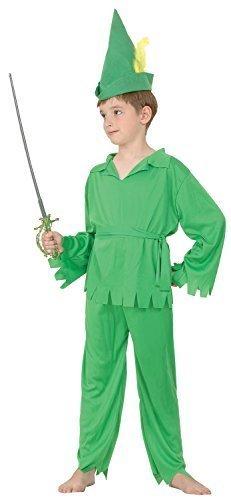 Jungen 4 Stück Grün Peter Pan Robin Hood Büchertag Halloween Kostüm Kleid Outfit 4-12 jahre - Grün, 4-6 years