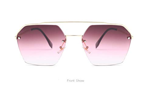 WSKPE Sonnenbrille,Halbe Rahmen Cat Eye Sonnenbrille Männer Frauen Mode Brillen Farben Vintage Gläser Uv 400 Gold Frame Dunkel Rote Linse