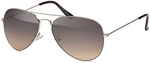Aviator Klassiker Sonnenbrille Pilotenbrille mit Verlaufsgläsern + Feinzwirn Microfaser...