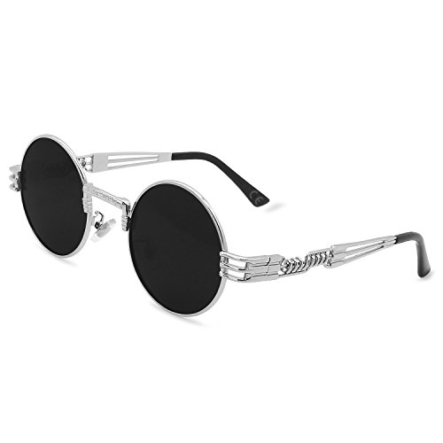 AMZTM Gafas de Sol Retro Steampunk Gafas Redondo Vendimia Hippie para Hombre Mujer Lente Polarizada Marco de Metal Protección UV 400 (Plateado Marco Gris Lente, 49)