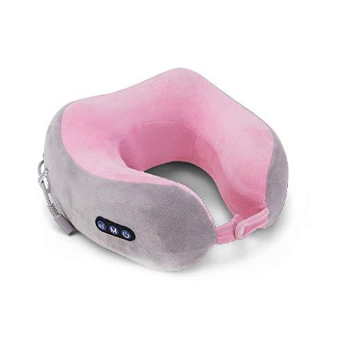 Massaggiatore Cervicale Con il calore, cinghie più lunghe e batteria ricaricabile per uso domestico, in ufficio e in auto (Color : Pink)