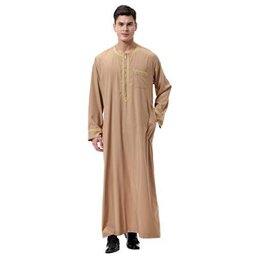 Oyedens Arabian Robe Herren, MäNner Langarm Stickerei Muslim Jacke Lang MäNner Casual Zipper KnöChellangen Kimono Langarm-Robe Einfarbiges Leinenoberteil - Stickerei-lange Jacke