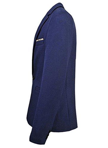 Ouye Casual Classique Blazer Vestes de Costume Homme Bleu