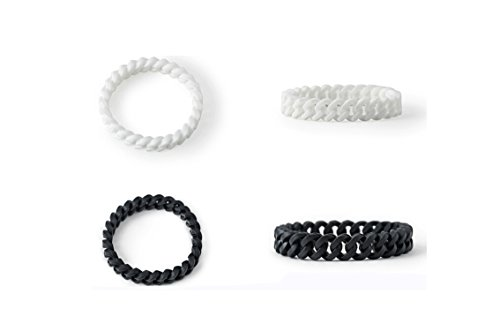 Silicone Chain Energy Bracelets Braided Curb Link Shaped Wristband for Men Women Black and White by F-sport