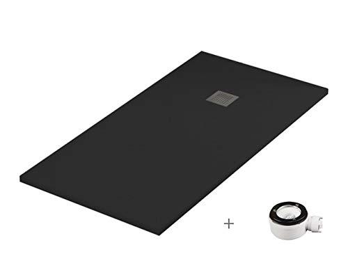 Plato ducha resina antideslizante textura pizarra Smooth Bricodomo 70x100 Negro