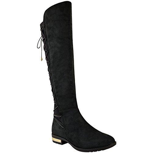 Damen Overknee-Stiefel mit Weitschaft - elastisch - flacher Absatz - Schwarz Veloursleder-Imitat - EUR 36