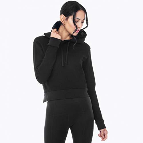 ZJSWCP Sweat-Shirt Automne Gothique Bureau Dame Haute Rue Casual Femmes Cool Sweat-Shirts en Vrac À Capuche Chandail Plaine Femme Noir Hiver Hoodies,M