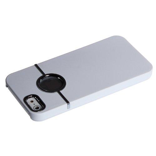 wortek® Schutzhülle Apple iPhone 5 / 5S Hardcase Logo Aussparung Schwarz Weiß