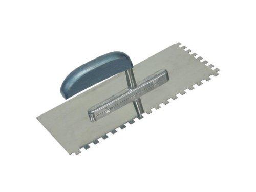 Edelstahl-Glättkelle mit Zähnen, Zähne 6x6mm , 280 x 130mm Rostfrei