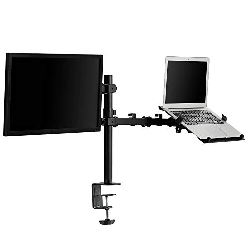 VonHaus Monitorhalterung & Laptop/Tablet Ablage - Doppelständer-Klemmarbeitsplatz - Voll Bewegliche Neigbar & Drehbar - Kabelverwaltung - 2 Regal-audio-stand