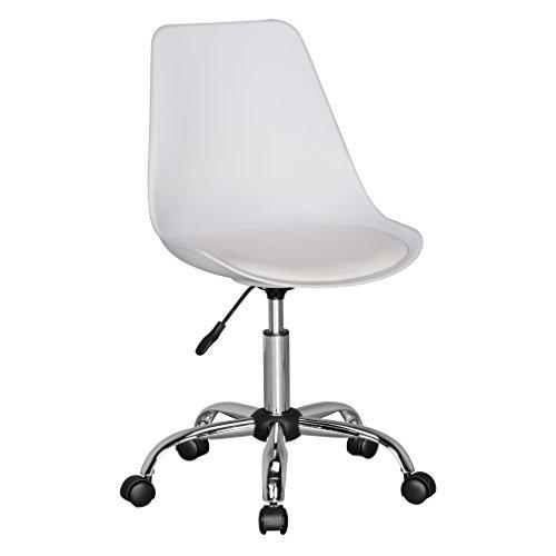 Amstyle Korsika, Drehstuhl mit Kunstleder-Sitzfläche, Design Drehsessel Wartezimmerstuhl ist höhenverstellbar, Schreibtischstuhl mit Rückenlehne, Bürostuhl/ Jugendstuhl mit Schalensitz weiß -